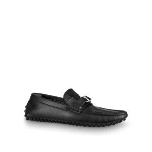 Giày lười Louis Vuitton da sần màu đen GLLV29