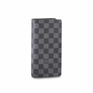 Ví nam Louis Vuitton like au gấp họa tiết ô vuông màu đen VNLV33