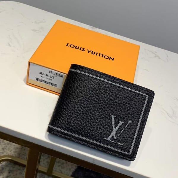 Ví nam Louis Vuitton siêu cấp họa tiết logo viền kẻ trắng VNLV76