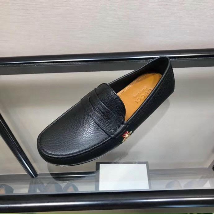 Giày lười Gucci like au họa tiết ong da nhăn GLGC57
