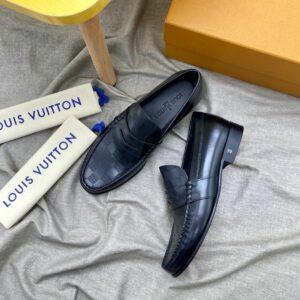 Giày lười Louis Vuitton like au đế cao họa tiết caro GLLV114