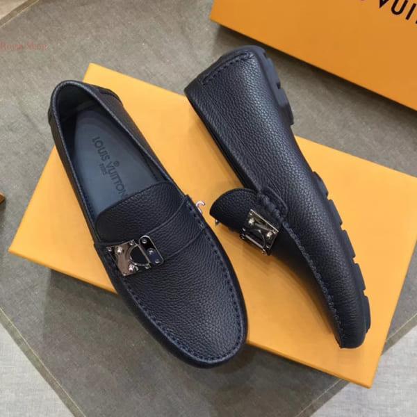 Giày lười Louis Vuitton like au khóa lệch màu xanh GLLV113