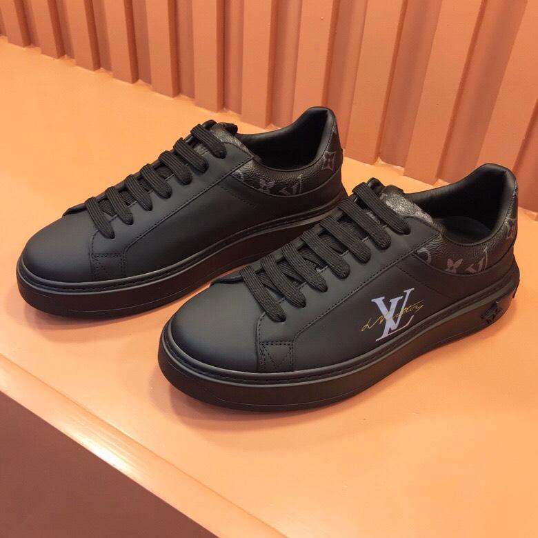 Giày nam Louis Vuitton siêu cấp hoạ tiết logo màu đen GNLV68