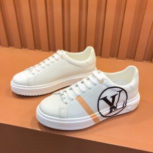 Giày nam Louis Vuitton siêu cấp hoạ tiết logo màu trắng viền kẻ vàng GNLV69