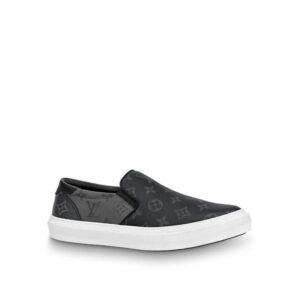 Giày slip on Louis Vuitton siêu cấp họa tiết hoa đen GLLV115