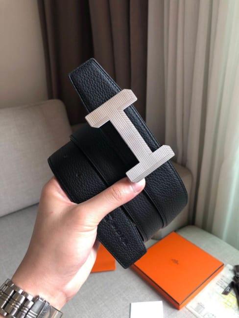 Thắt lưng Hermes Like Au họa tiết kẻ sọc 3D TLH43