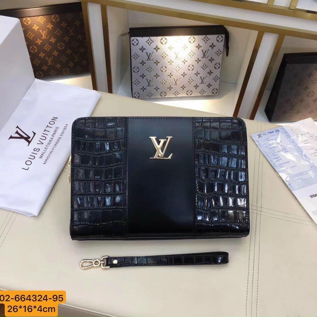 Ví nam Louis Vuitton siêu cấp cầm tay da vân cá sấu VNLV81