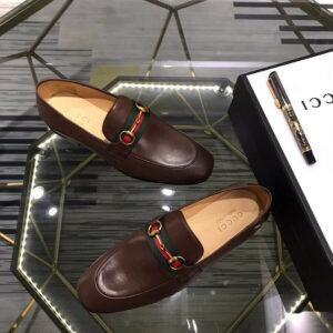 Giày lười Gucci like au da trơn màu nâu GLGC60