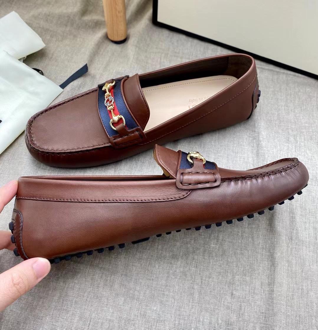 Giày lười Gucci like au da trơn màu nâu GLGC61