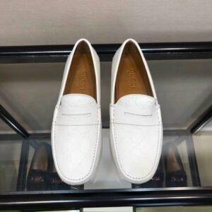 Giày lười Gucci like au họa tiết da dập logo trắng GLGC59