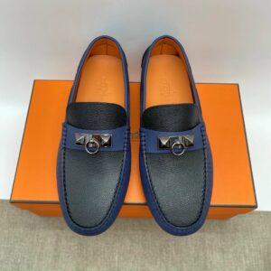 Giày lười Hermes like au họa tiết móc khóa xanh đen GLH39