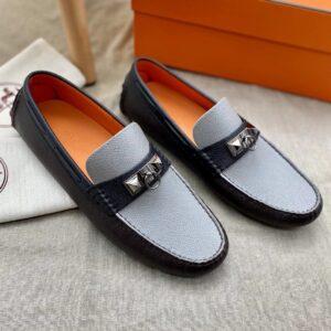 Giày lười Hermes like auth mũi trâu màu đen ghi GLH40
