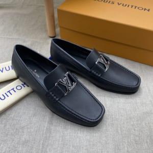 Giày lười Louis Vuitton đế cao like auth da trơn khóa viền đen trắng GLLV122