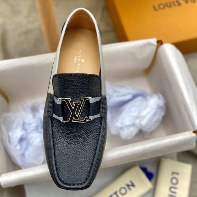 Giày lười Louis Vuitton like au da nhăn viền ghi GLLV119