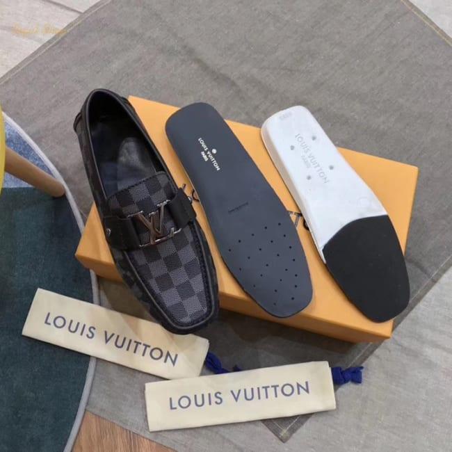 Giày lười Louis Vuitton like au họa tiết caro mũi vuông GLLV118