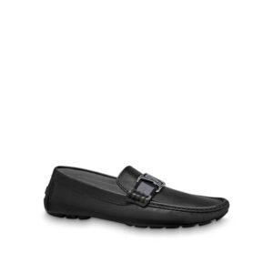 Giày lười Louis Vuitton like au da trơn khóa đen trắng GLLV121