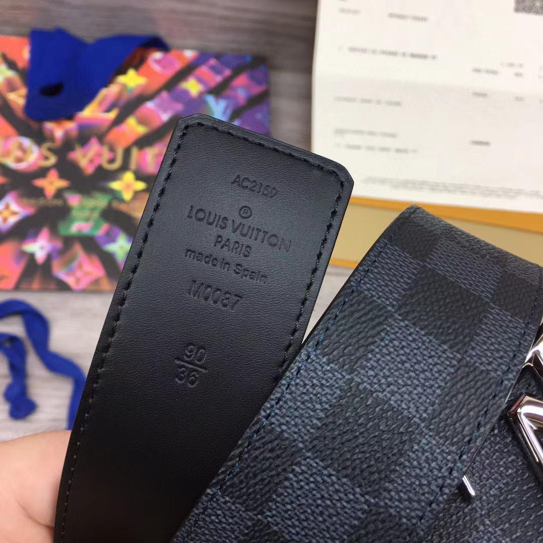 Thắt lưng Louis Vuitton like auth họa tiết caro mặt logo mới TLLV85