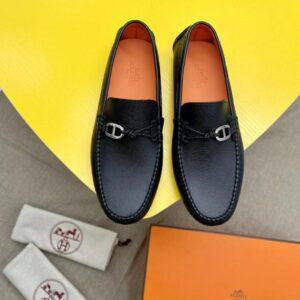 Giày lười Hermes like au họa tiết nơ lệch GLH41