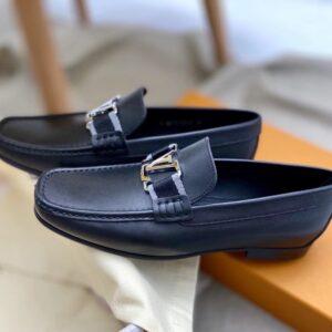 Giày lười Louis Vuitton đế cao like au da trơn tag vải GLLV125