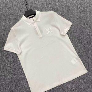 Áo nam Louis Vuitton siêu cấp màu trắng họa tiết logo ngực AOLV08