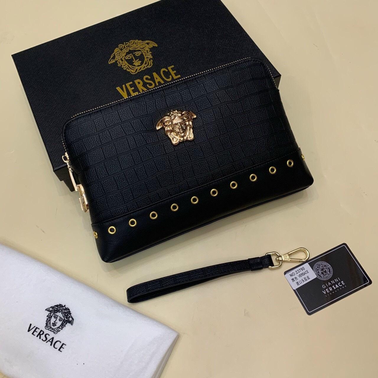 Ví nam Versace siêu cấp cầm tay hoạ tiết đính ốc VNVS17