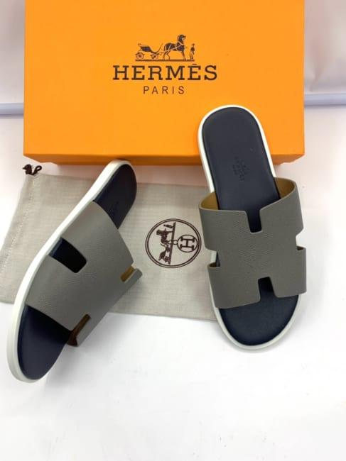 Dép Hermes nam siêu cấp họa tiết quai màu ghi lót đen DNH28