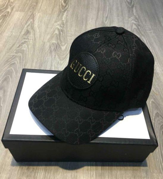 Mũ nam Gucci siêu cấp hoạ tiết logo chữ màu đen MNGC06