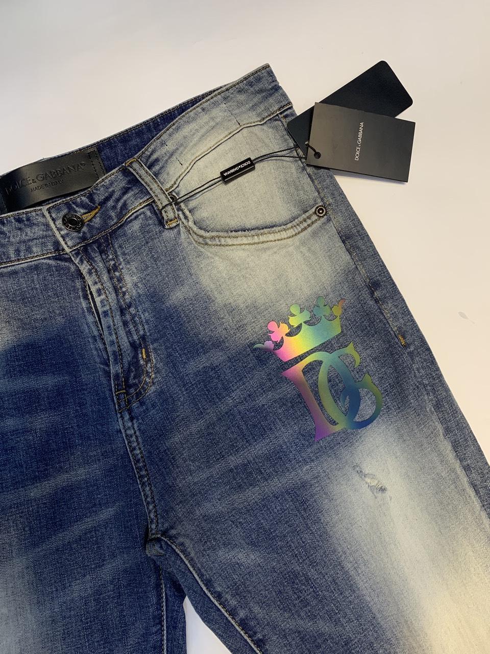 Quần bò Dolce&Gabbana siêu cấp hoạ tiết chữ logo màu xanh QNDG01