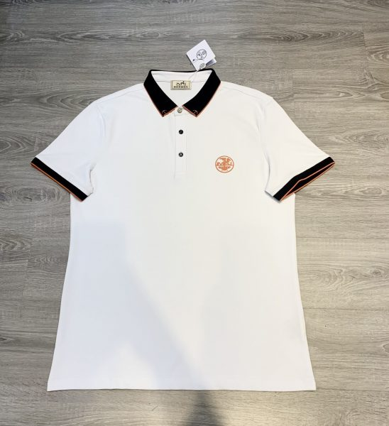 Áo phông Hermes siêu cấp màu trắng hoạ tiết viền đen APH02