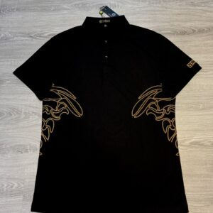 Áo phông Versace siêu cấp full đen thêu chỉ vàng hai bên eo APV03