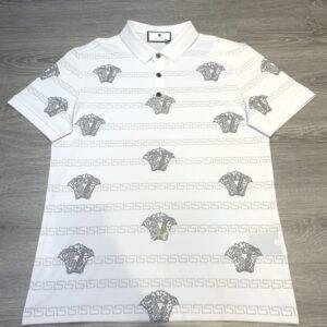 Áo phông Versace siêu cấp hoạ tiết logo đính đá màu trắng APV06