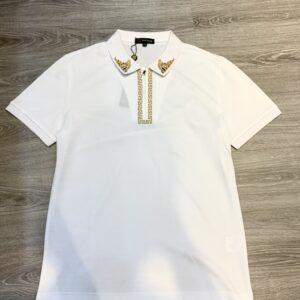 Áo phông Versace siêu cấp trắng họa tiết thêu chỉ vàng ở cổ APV05