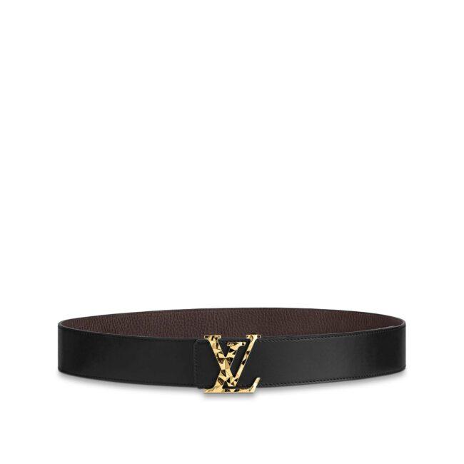 Thắt lưng Louis Vuitton hoa tiết thach anh mặt vàng TLLV74