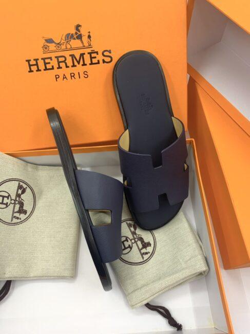 Dép Hermes nam bản like auth da taiga màu xanh DNH34