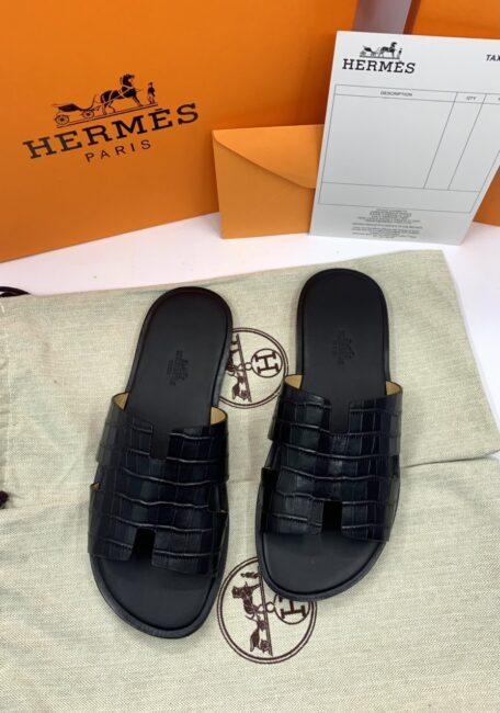 Dép Hermes nam bản like auth da vân cá sấu màu đen DNH35