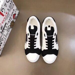 Giày nam Dolce Gabbana siêu cấp họa tiết logo màu đen trắng GNDG01