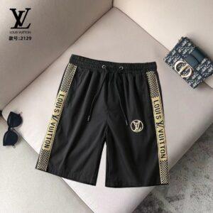 Quần short Louis Vuitton siêu cấp màu đen viền vàng họa tiết logo QSLV2129