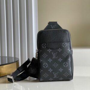 Túi đeo chéo Louis Vuitton l hoạ tiết hoa đen bao tử TDCLV24