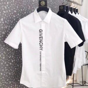 Áo sơ mi Givenchy ngăn tay màu trắng chữ ASMG01
