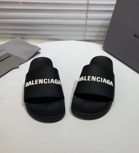 Dép Balenciaga siêu cấp nam màu đen chữ trắng DBL01