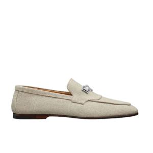 Giày lười Hermes like au đế cao khóa mũi trâu màu trắng GLH19