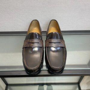 Giày lười Louis Vuitton like au đế cao da trơn tag hoa màu nâu GLLV131