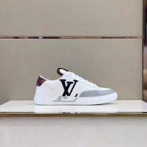 Giày nam Louis Vuitton siêu cấp họa tiết logo đen gót nâu GNLV70